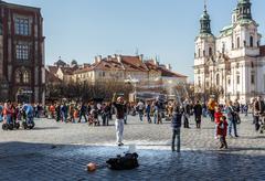 Praha, Tšekki - 13 maaliskuu 2014 - katusoittajia Kuvituskuvat