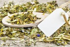 Curative natural herbal tea with hang tag Stock Photos