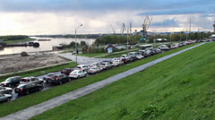 Types of Nefteyugansk. Traffic jam along the Ob River. Yugra,  Russia. Stock Footage
