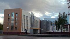 Headquarters of Yuganskneftegaz (Rosneft). Nefteyugansk, Yugra, Russia. Stock Footage