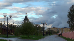Public garden along the Ob River. Nefteyugansk. Yugra, Western Siberia, Russia. Stock Footage