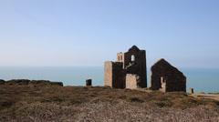 Ruins of English tin mine Wheal Coates near St Agnes Cornwall UK Stock Footage
