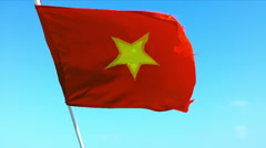 Vietnam Flag on Wind Stock Footage