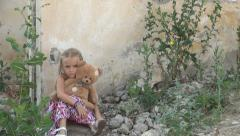 Abandoned Lonely, Unhappy Child in Demolished House, Homeless Sad Girl, Children - stock footage