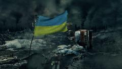 Post apocalyptic scene - Ukrainian flag - stock footage