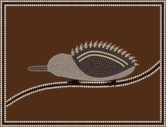 Stock Illustration of A illustration based on aboriginal style of dot painting depicting Echidna