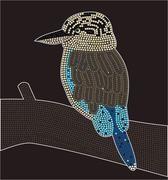 A illustration based on aboriginal style of dot painting depicting kookaburra. - stock illustration