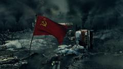 Post apocalyptic scene - Soviet flag - stock footage