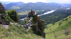 Panorama of mount bloody finger in altai krai. russia. Stock Footage