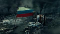 Post apocalyptic scene - Russian flag - stock footage