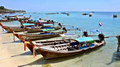 Thailand, phi phi islands, traditional fishing boats Stock Footage
