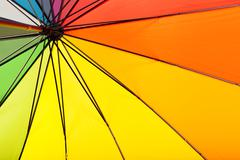 Multicolored umbrella inside view - stock photo