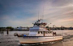 Veneen Manasquan syötössä, Point Pleasant Beach, New Jersey. Kuvituskuvat