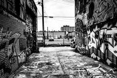 incredible artwork in graffiti alley, baltimore, maryland. - stock photo