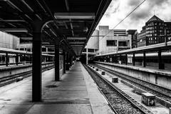Railroad tracks in the south station, boston, massachusetts. Stock Photos