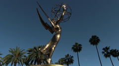 Emmy Statue Low Angle Wide Stock Footage