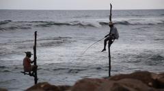 Sri Lanka's Stilt Fishermen Stock Footage