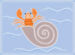 A illustration based on aboriginal style of dot painting depicting hermit crab - stock illustration