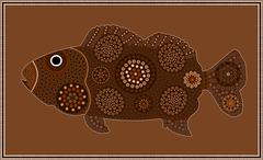 Stock Illustration of A illustration based on aboriginal style of dot painting depicting fish