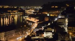 Night view of the city of Oporto in Portugal Stock Footage