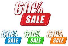 60 percentages sale, four colors labels - stock illustration