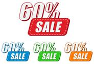 Stock Illustration of 60 percentages sale, four colors labels