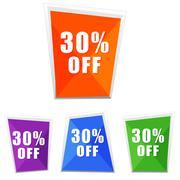 30 percentages off, four colors labels Stock Illustration