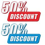 50 percentages discount in two colors labels, flat design Stock Illustration