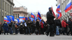 """United Russia"" political party demonstration in Moscow Stock Footage"
