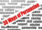 Stock Illustration of 38 ways of persuasion word cloud