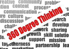 360 degree thinking - stock illustration