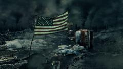Post apocalyptic scene - USA flag - stock footage