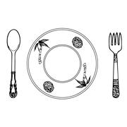 cartoon plate, fork and spoon - stock illustration