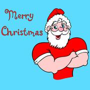 muscular santa claus with a raised hand gesture. - stock illustration