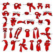 set of different neckerchiefs - stock illustration
