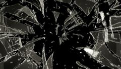 4K Cracked and Shattered glass with slow motion. Alpha Stock Footage