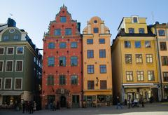 Colourful houses in stockholm, sweden Stock Photos