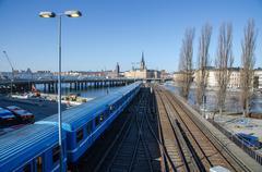 the metro arrives into stockholm - stock photo