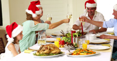 Extended family toasting at christmas dinner - stock footage