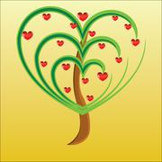 Stock Illustration of vector apple tree with red fruits in the form of heart