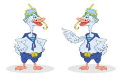 Two geese divers talk - stock illustration