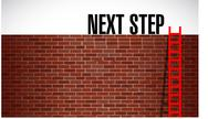Stock Illustration of next step over a wall illustration