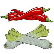 Leek and red pepper, vector illustration. Stock Illustration