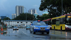 Asia Singapore busy rushhour Traffic after rain Stock Footage