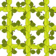 elegant seamless pattern with ripe pears, design element - stock illustration