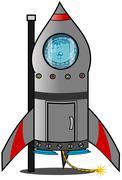 Reluctant boy astronaut - stock illustration