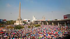 Thai protesters gather at victory monument Stock Photos