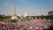 Stock Photo of thai protesters gather at victory monument