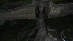 Aerial View: Chufut-Kale fortress. Mountain plateau of Burunchak, Crimea Stock Footage