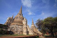 ancient pagodas in ayutthaya - stock photo